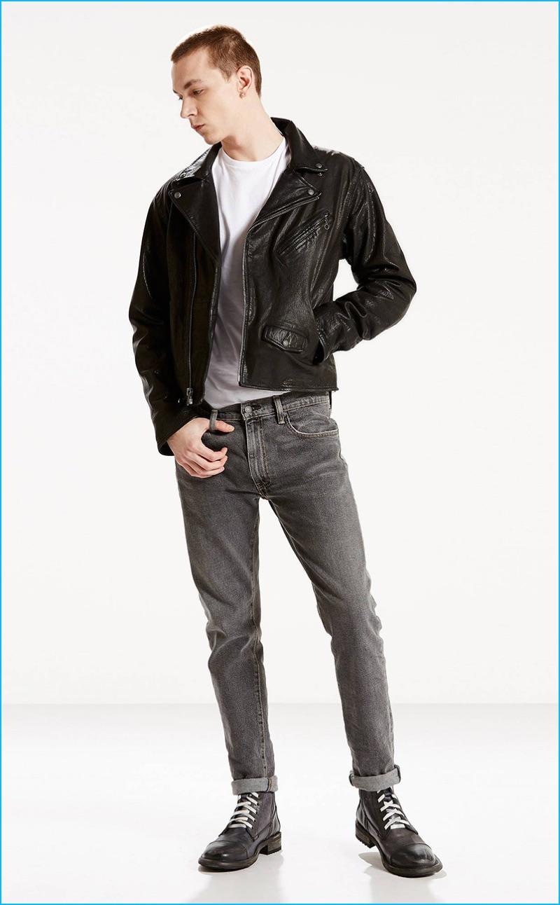 Yuri Pleskun sports Levi's 505C Marky</em slim fit jeans.