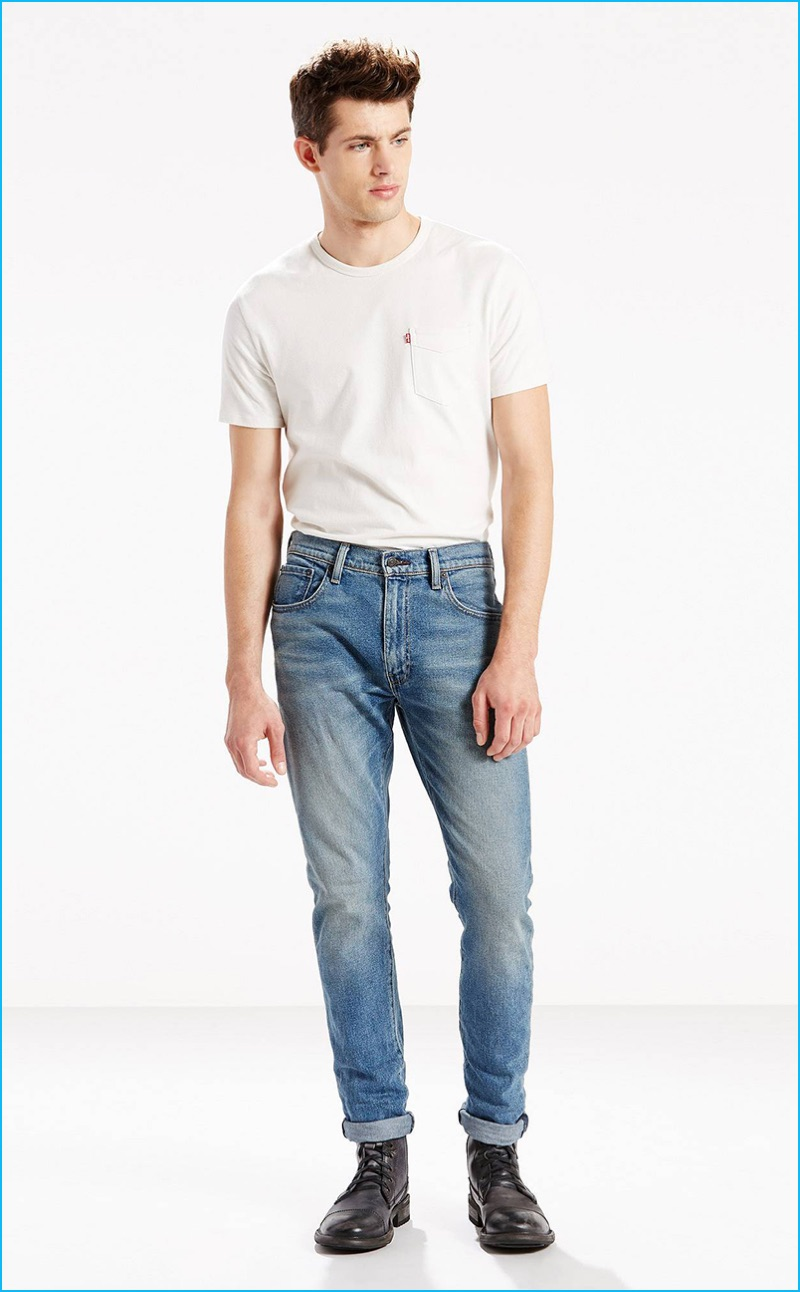 Jamie Wise is front and center in Levi's 505C slim front Tommy jeans, which feature a distressed light rinse.