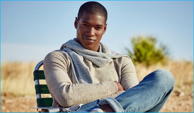 Model Ronald Epps in layered in fall sweaters from Abercrombie & Fitch.