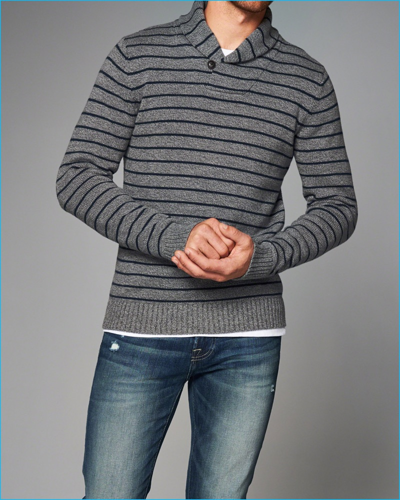 Abercrombie & Fitch Striped Shawl Collar Sweater