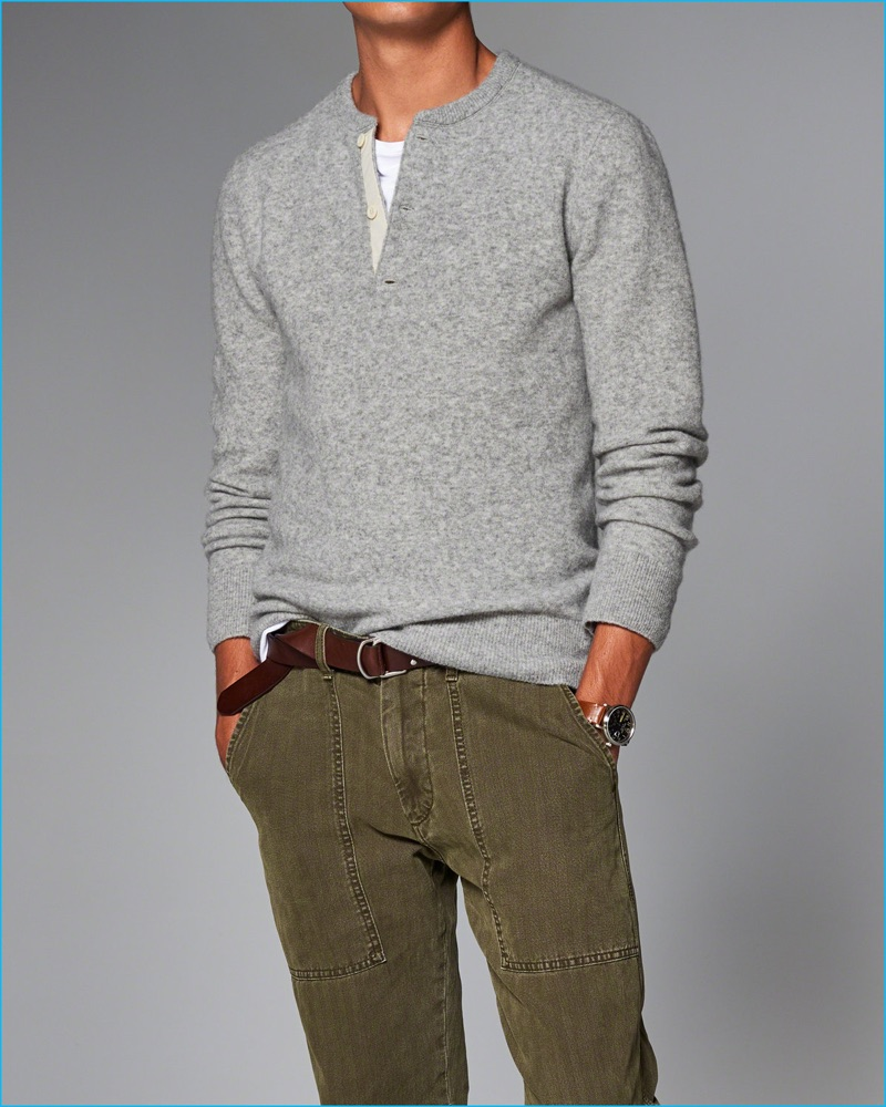 Abercrombie & Fitch Wool Blend Henley Sweater
