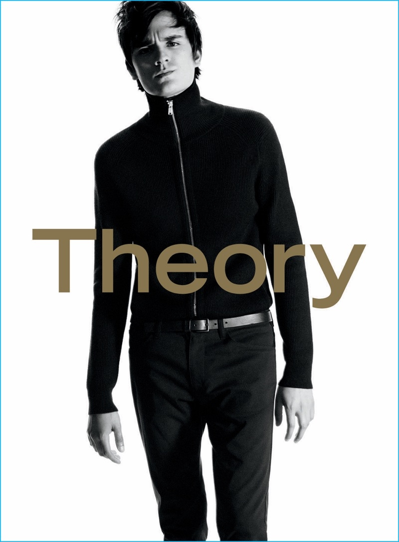 Alain-Fabien Delon sports a fitted track jacket for Theory's fall-winter 2016 advertising campaign.