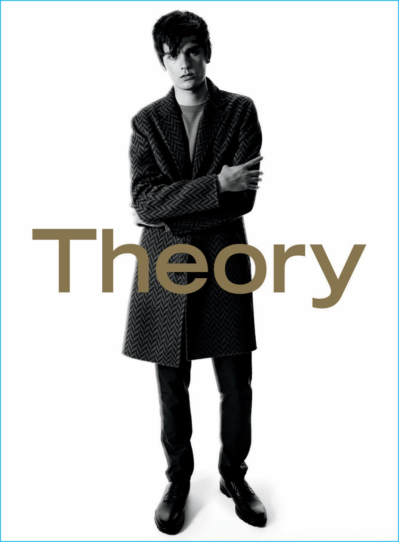 Alain-Fabien Delon dons a long coat for Theory's fall-winter 2016 advertising campaign.