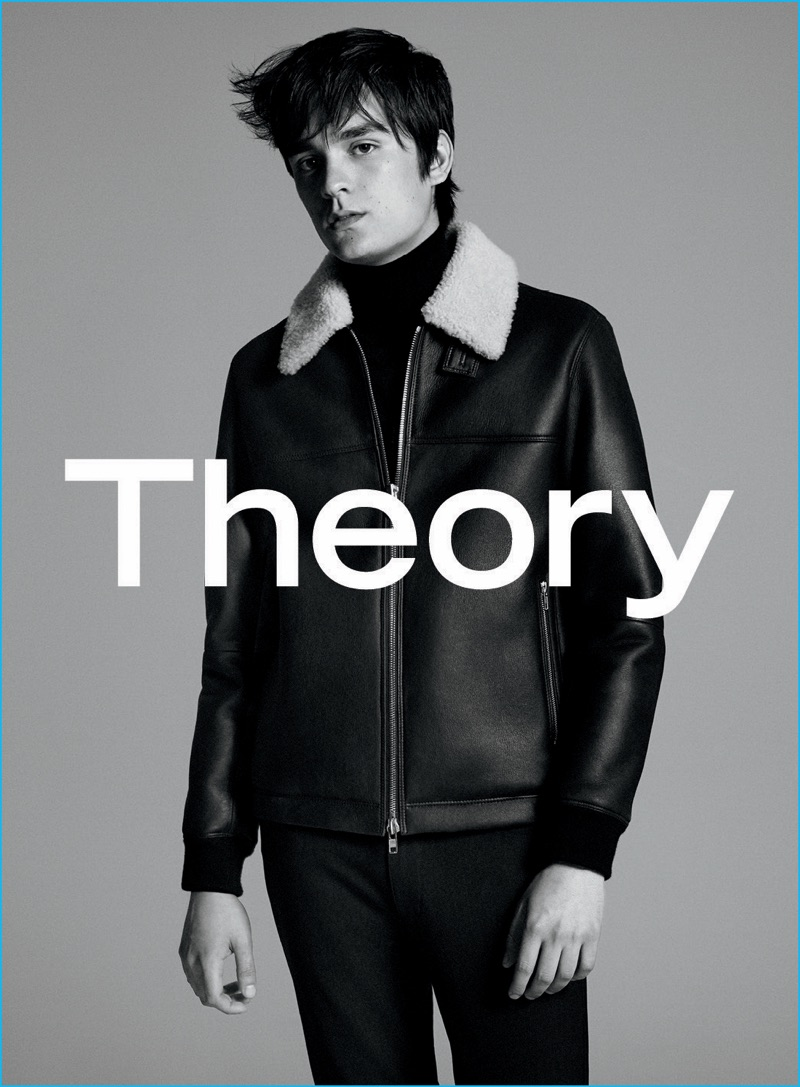 Alain-Fabien Delon pictured in a leather bomber jacket for Theory's fall-winter 2016 advertising campaign.