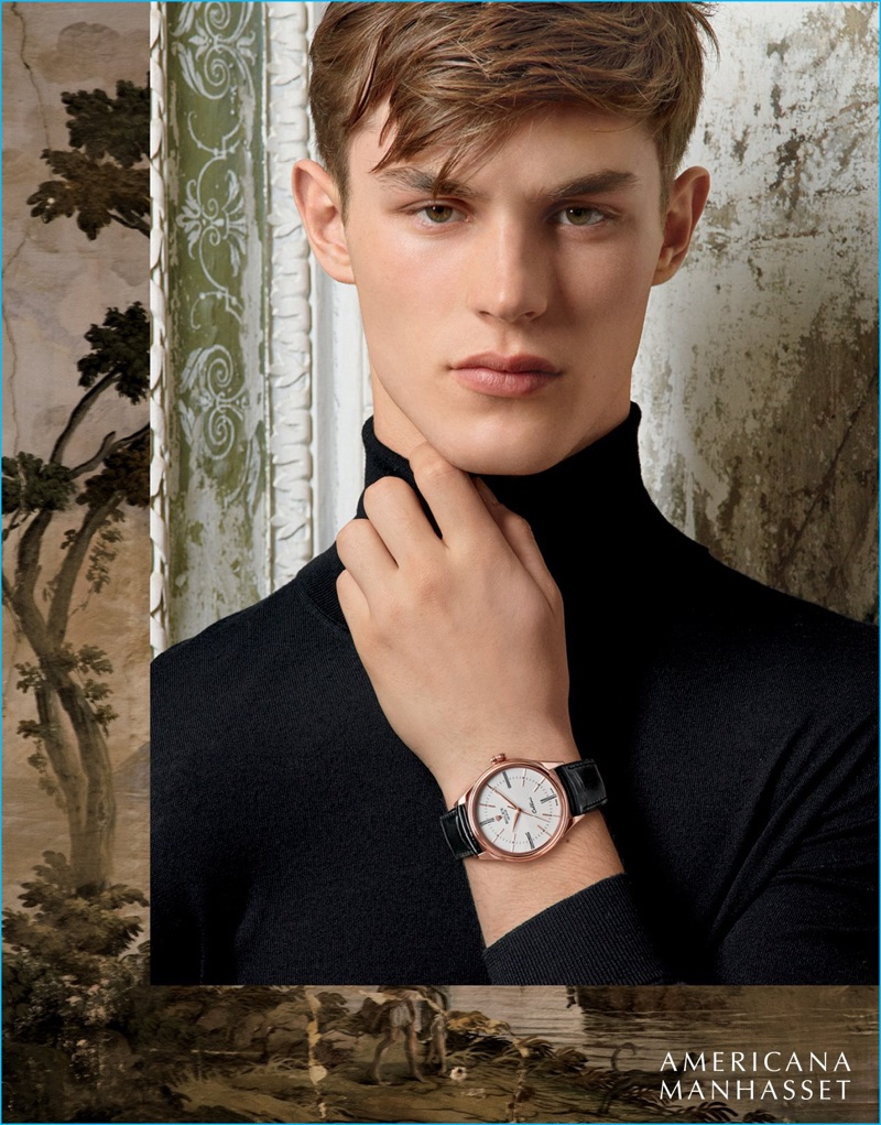Model Kit Butler dons a fine Rolex timepiece for Americana Manhasset.
