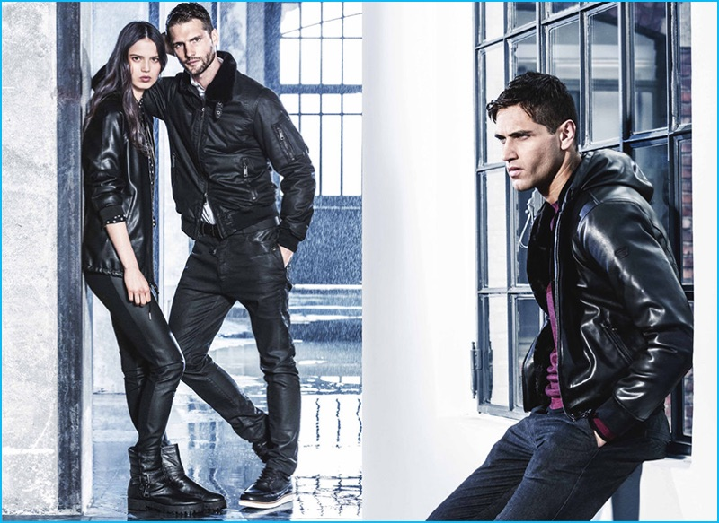 f01bcaf80a1 Tomas Skoloudik and Fabio Mancini model both leather and treated fashions  from Armani Jeans  fall