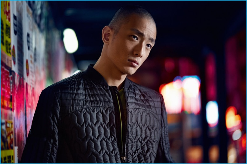 Sung Jin Park wears a quilted jacket for BOSS Green's fall-winter 2016 campaign.