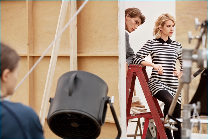 Behind the Scenes: Jordan Barrett and Emma Roberts for Canvas Lands' End's fall-winter 2016 campaign.
