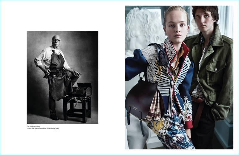 Models Jean Campbell and Cavan McCarthy star in Burberry's fall 2016 campaign.