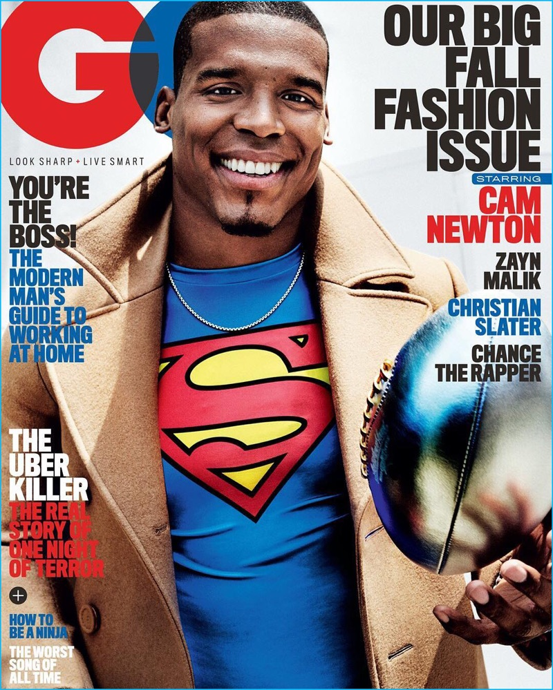 Cam Newton covers the September 2016 issue of American GQ.
