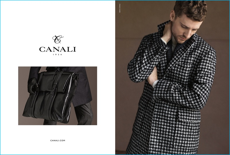 George Barnett models a houndstooth coat for Canali's fall-winter 2016 campaign.