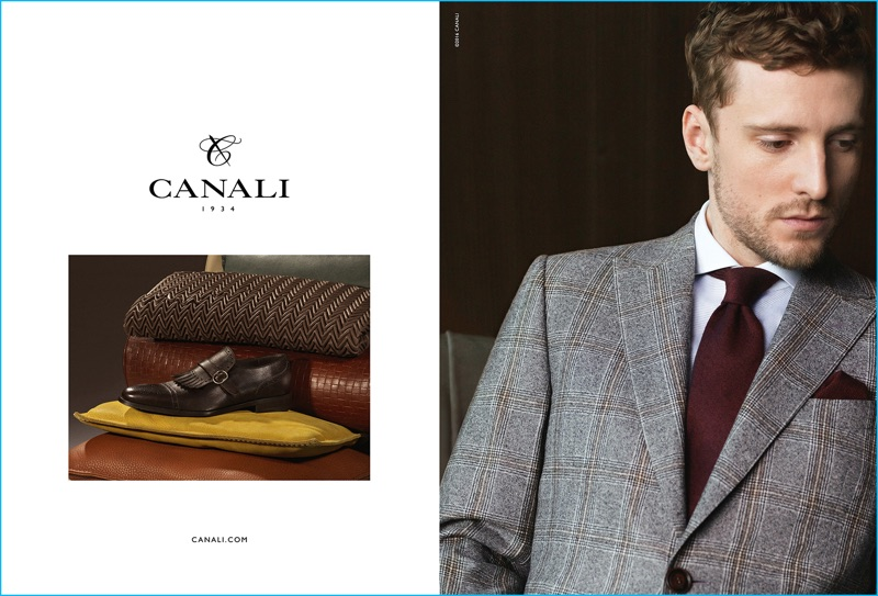 George Barnett dons a check suit for Canali's fall-winter 2016 campaign.