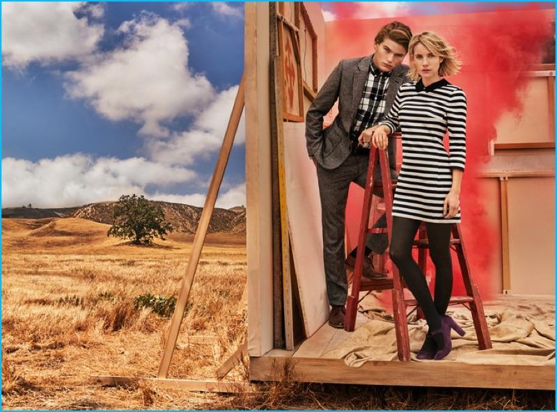 Jordan Barrett and Emma Roberts front Canvas Lands' End's fall-winter 2016 campaign.