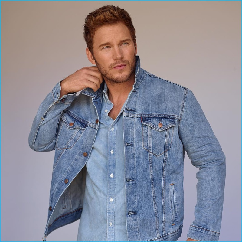 Chris Pratt wears double denim for his InStyle photo shoot.