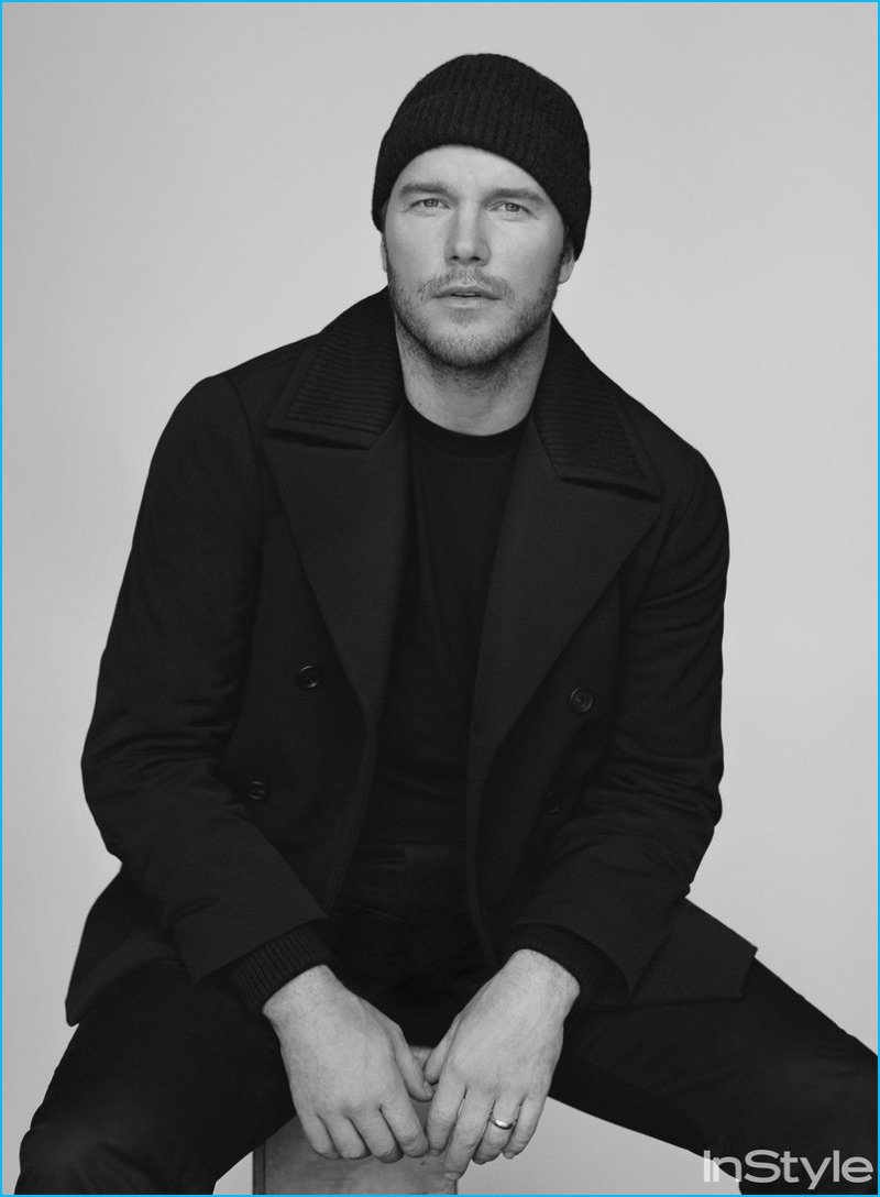 Chris Pratt sports an all-black ensemble for the pages of InStyle.