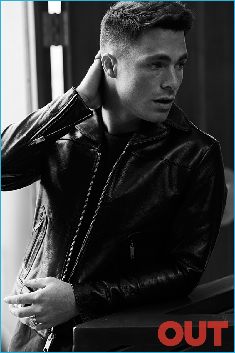 Leather jacket photoshoot - Colton Haynes Poses For A Black White Image Wearing A John Varvatos Shirt With