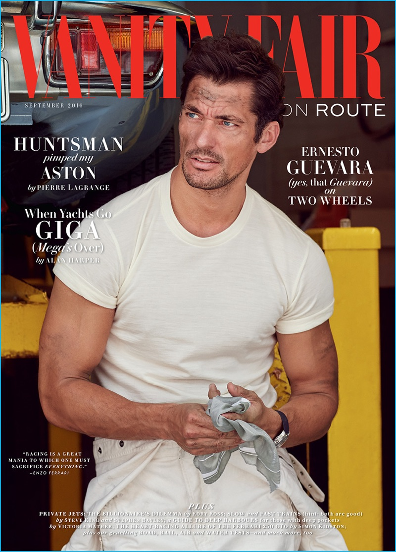 David Gandy covers the September 2016 issue of Vanity Fair UK On Route.