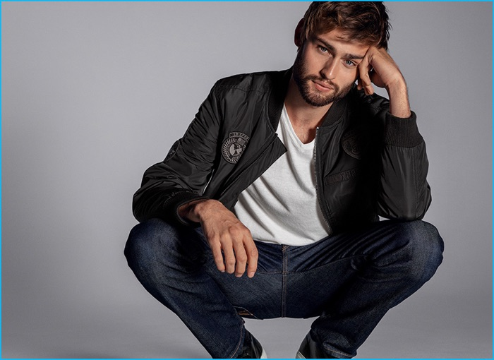 Douglas Booth is front and center for Express Jeans' fall-winter 2016 campaign.