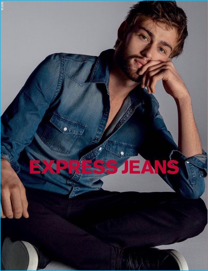 Douglas Booth sports a distressed denim shirt for Express Jeans' fall-winter 2016 campaign.