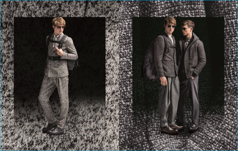 Guerrino Santulliana and Jason Anthony don grey tailoring from Emporio Armani's fall-winter 2016 collection.