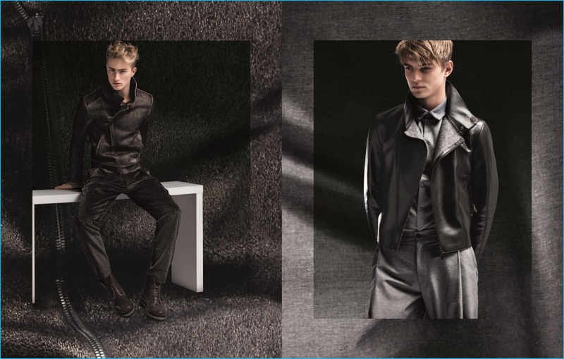 Dylan Verlooy and Guerrino Santulliana are a sleek duo in leather fashions from Emporio Armani's fall-winter 2016 collection.