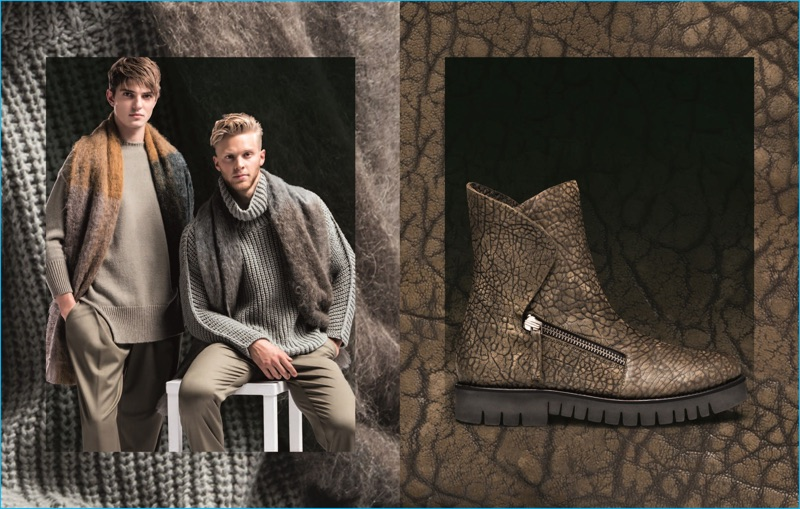 Guerrino Santulliana and Clark Bockelman wear ribbed knit sweaters from Emporio Armani's fall-winter 2016 collection.