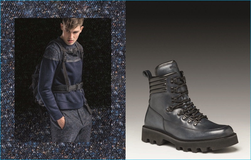 Jason Anthony embraces hiking style in a blue look from Emporio Armani's fall-winter 2016 collection.