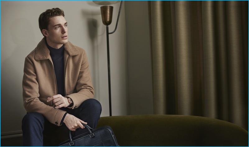 Nikola Jovanovic wears a shearling collared jacket from Ermenegildo Zegna's fall-winter 2016 collection.
