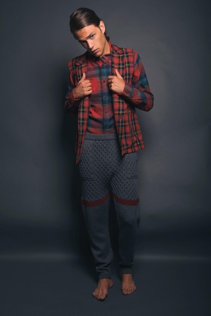 Raffaele wears waistcoat Studiopretzel, shirt Hilfiger Denim, and trousers Christian Pellizzari.