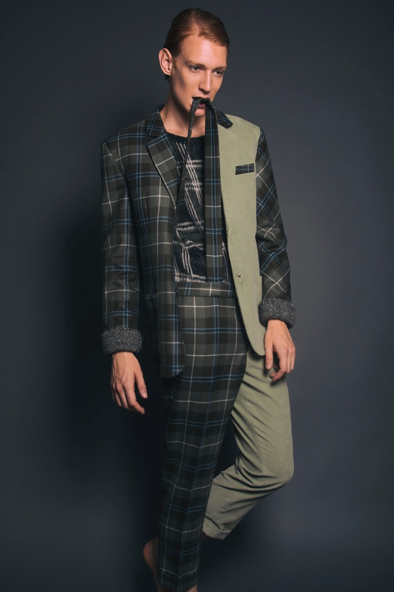 Lucas wears sweater 5 Preview, jacket and trousers with suspenders Matteolamandini.