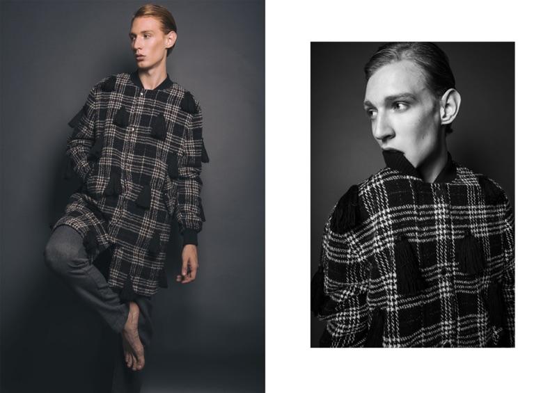 Lucas wears coat Au Jour Le Jour and trousers Pomandere.