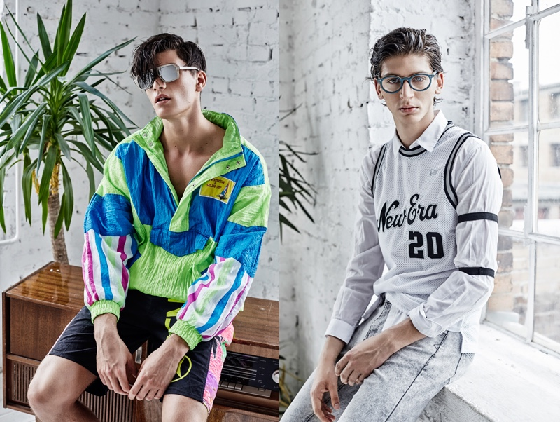 Left to Right: Dan wears all clothes vintage and sunglasses Concept Eyewear. Peter wears glasses Concept Eyewear, jersey New Era, shirt Zara, and jeans Levi's.