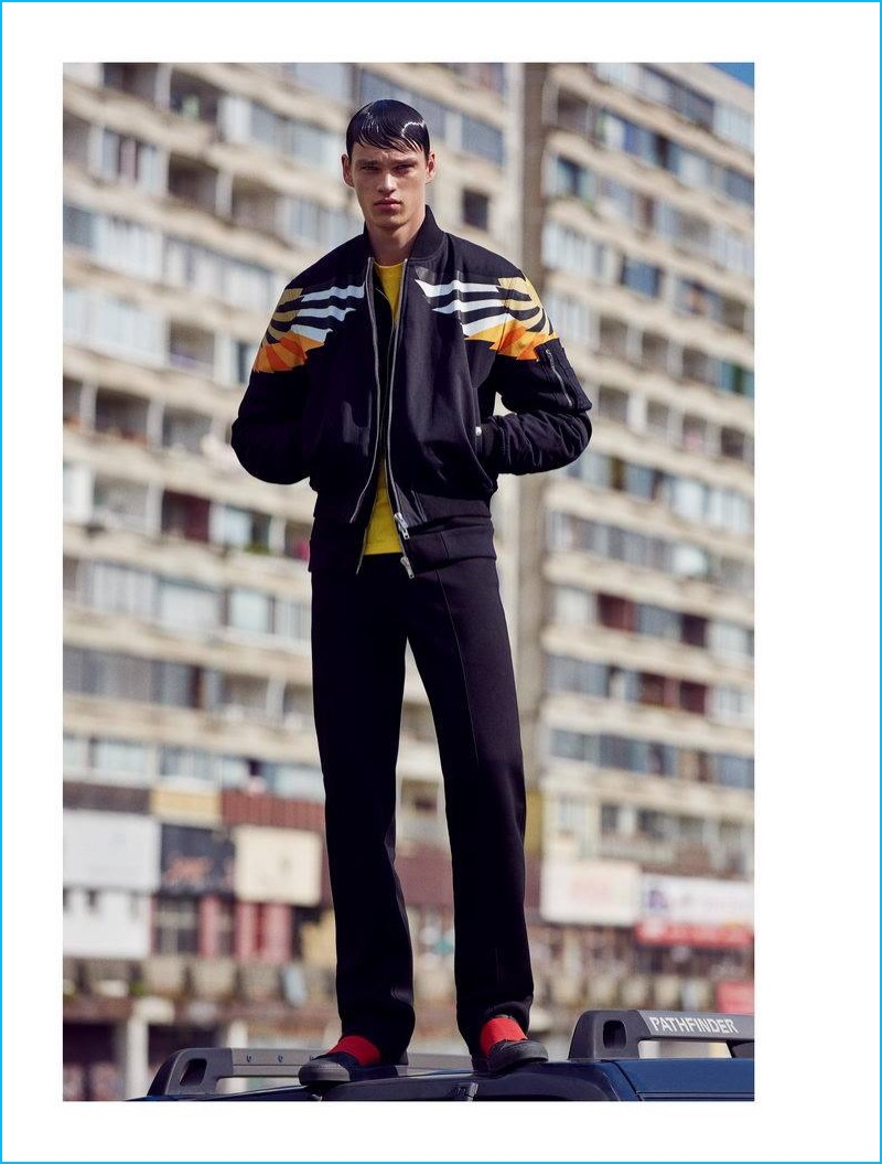 Filip Hrivnak goes sporty in a resort 2017 look from Givenchy.