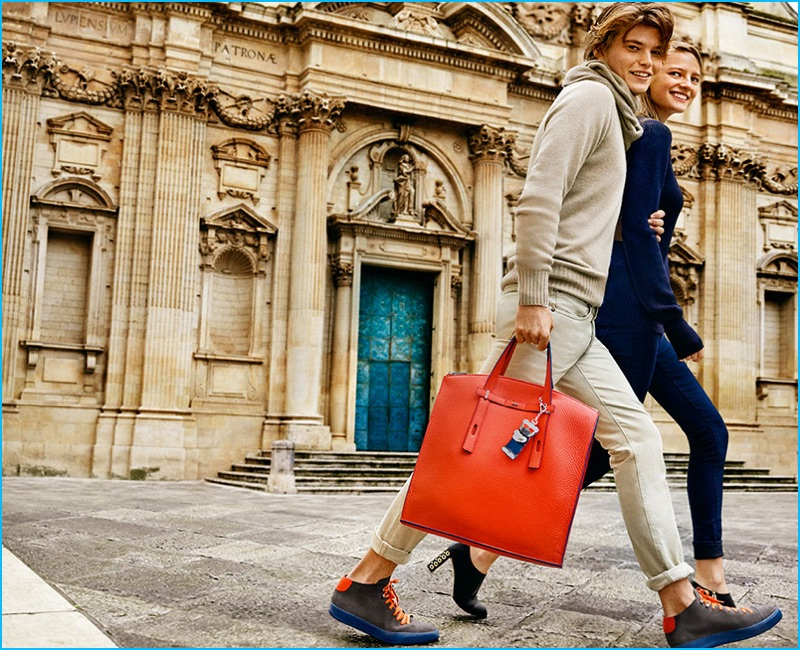 Jordan Barrett and Ine Neefs photographed by Mario Testino for Furla's fall-winter 2016 campaign.