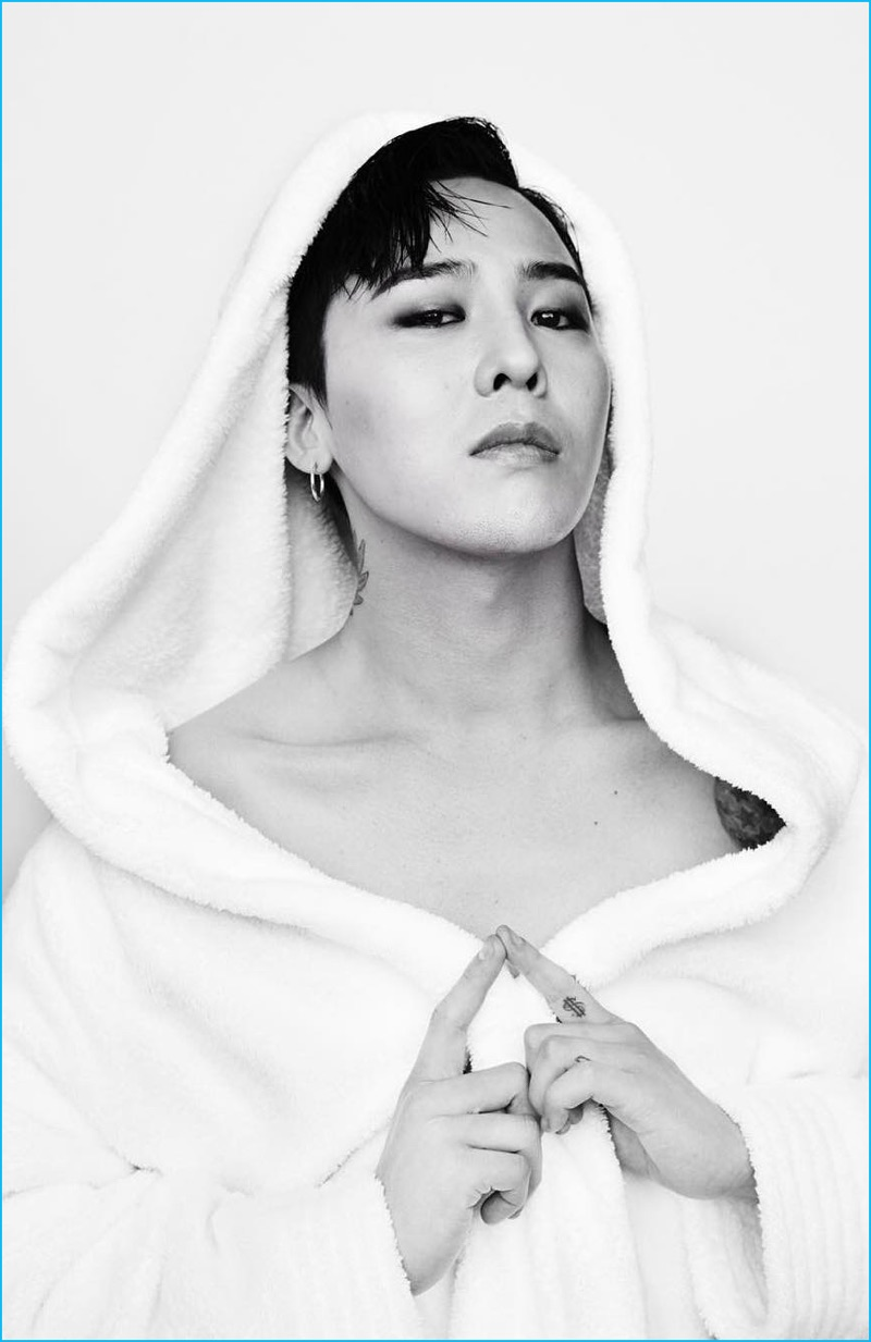 G-Dragon photographed by Mario Testino for the photographer's Towel Series.