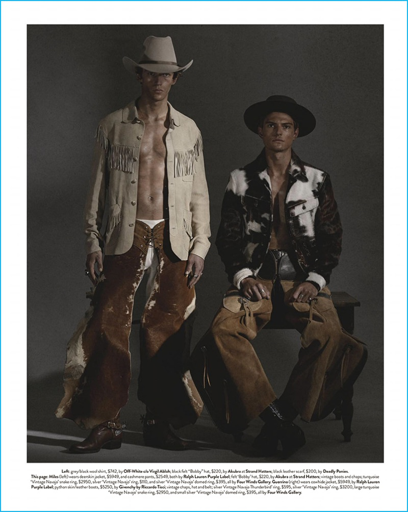 Miles Hurley and Guerrino Santulliana rock chaps and shirt jackets for the pages of GQ Australia.