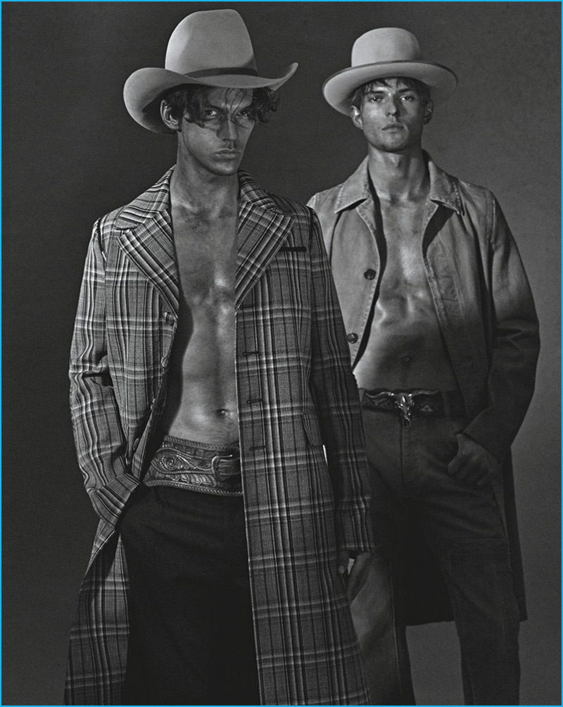Miles Hurley dons a plaid Prada coat, while Guerrino Santulliana is pictured in the brand's brown denim coat.