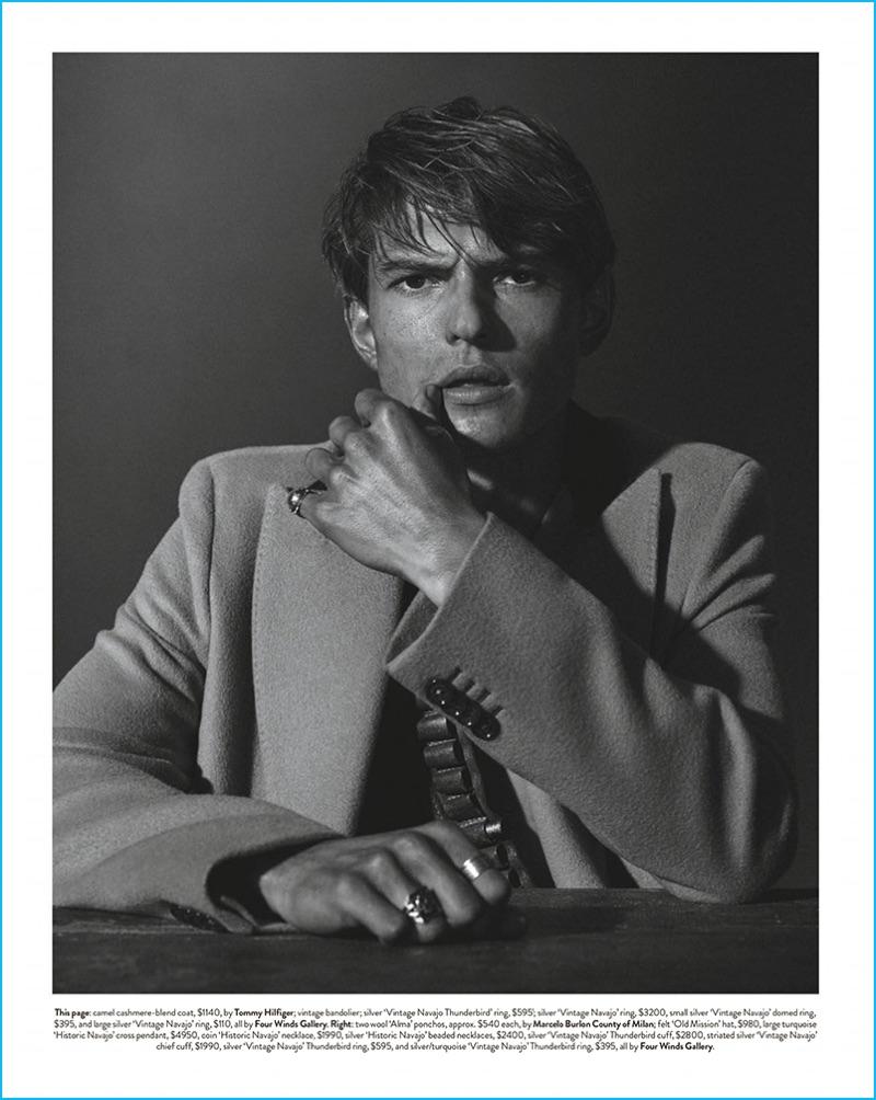Guerrino Santulliana models a Tommy Hilfiger coat for GQ Australia.