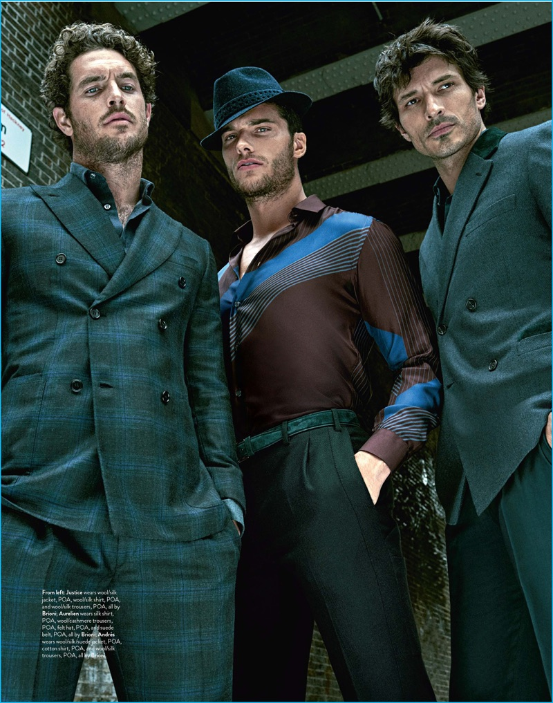 Justice Joslin, Aurelien Muller, and Andres Velencoso photographed by Mariano Vivanco for GQ Australia.