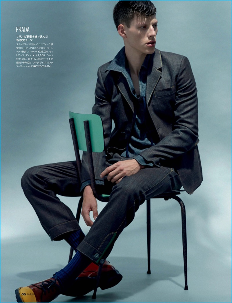 Nemanja Maksic pictured in a sailor-inspired suiting number from Prada for GQ Japan.