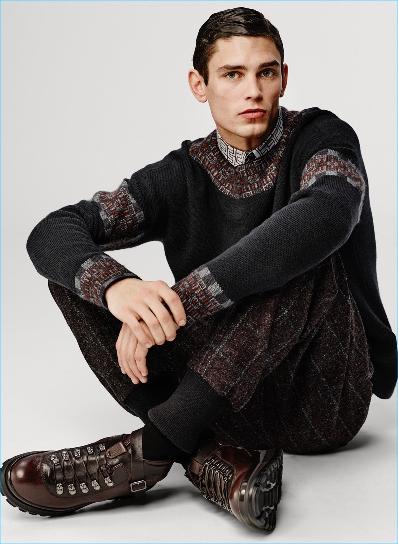 Arthur Gosse is front and center in a standout sweater from Giorgio Armani's fall-winter 2016 collection.