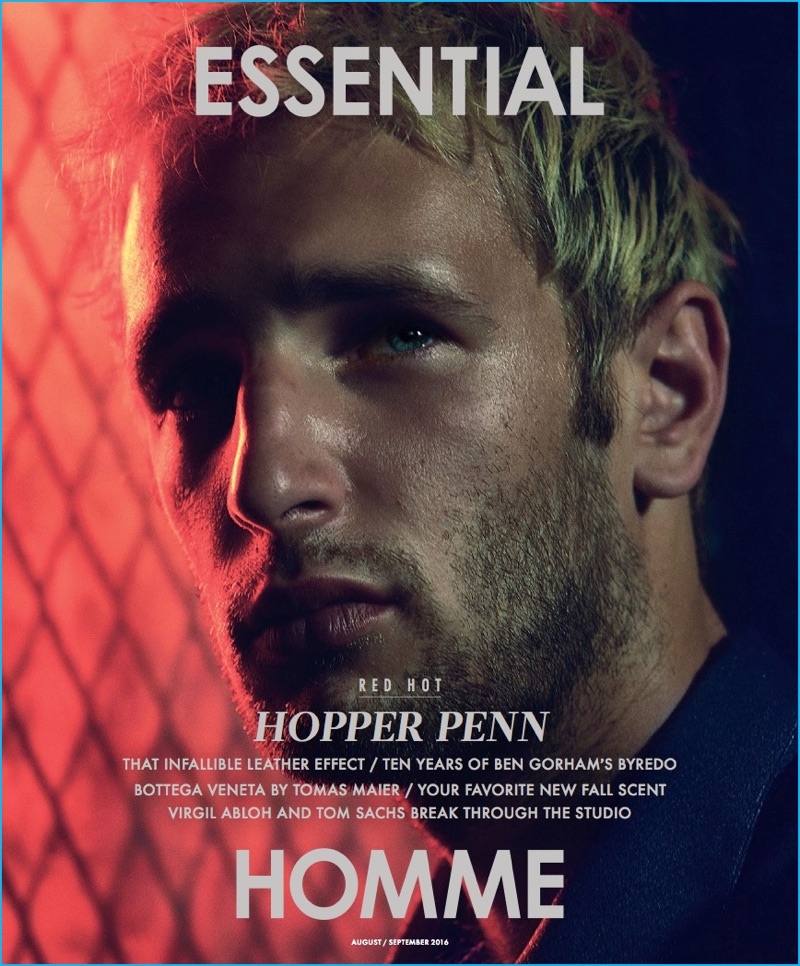 Hopper Penn covers the August/September 2016 issue of Essential Homme.