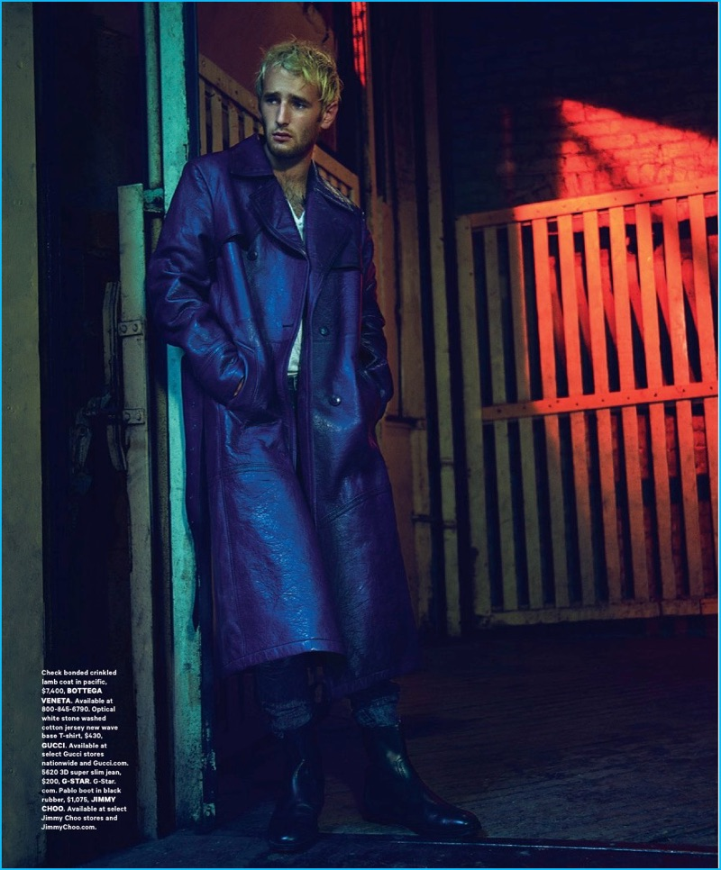 Hopper Penn pictured in a long blue Bottega Veneta leather coat.