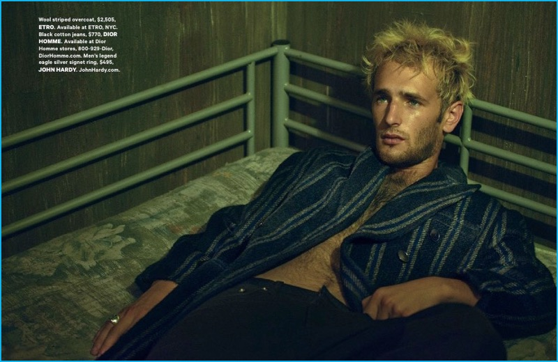 Hopper Penn relaxes in a striped Etro overcoat for Essential Homme.