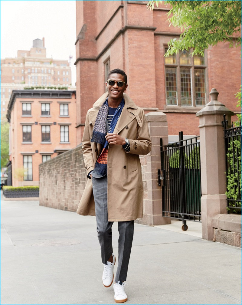 Hamid Onifade is all smiles as he models J.Crew's Ludlow trench coat with smart fall layers.