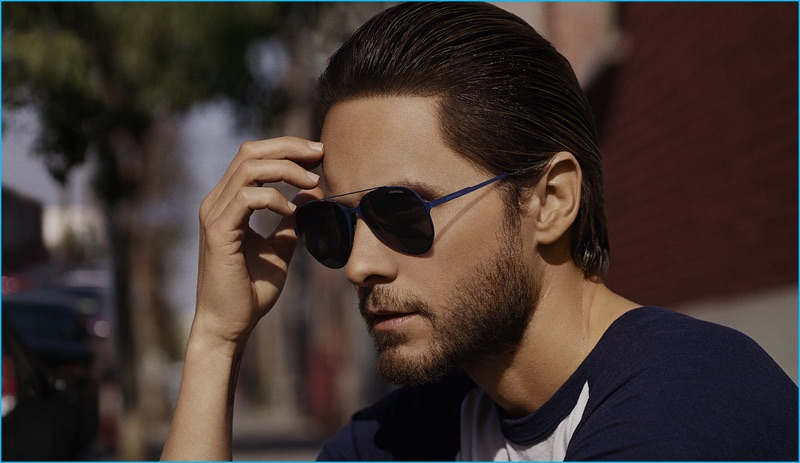 25173ecbf0 Jared Leto embraces blues in Carrera s Pace Maverick sunglasses.