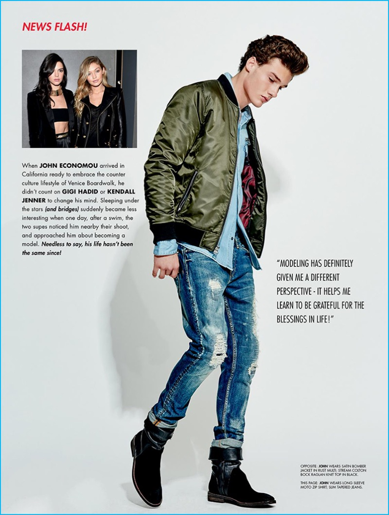 John Economou rocks a green bomber jacket with skinny fit distressed denim jeans from Guess.