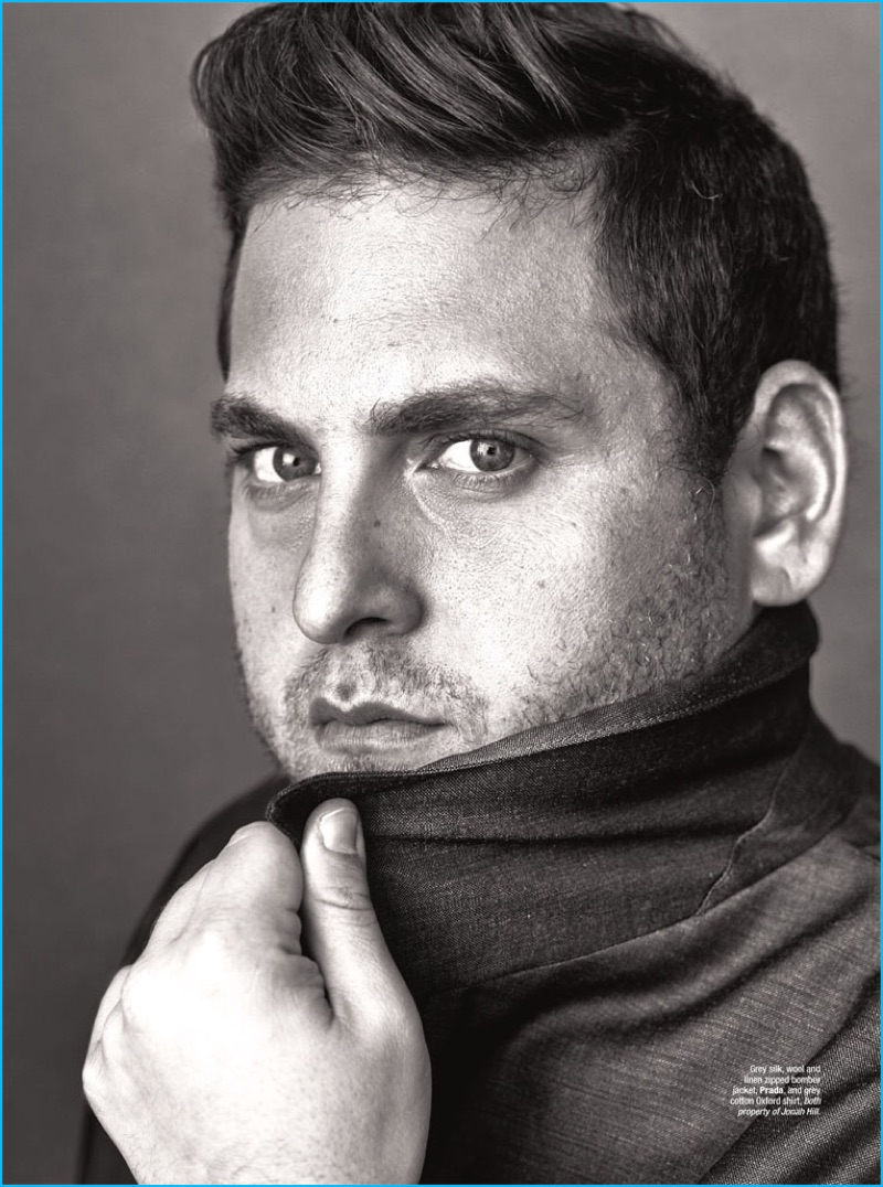 Jonah Hill poses for a portrait lensed by photographer Alexei Hay for The Rake.