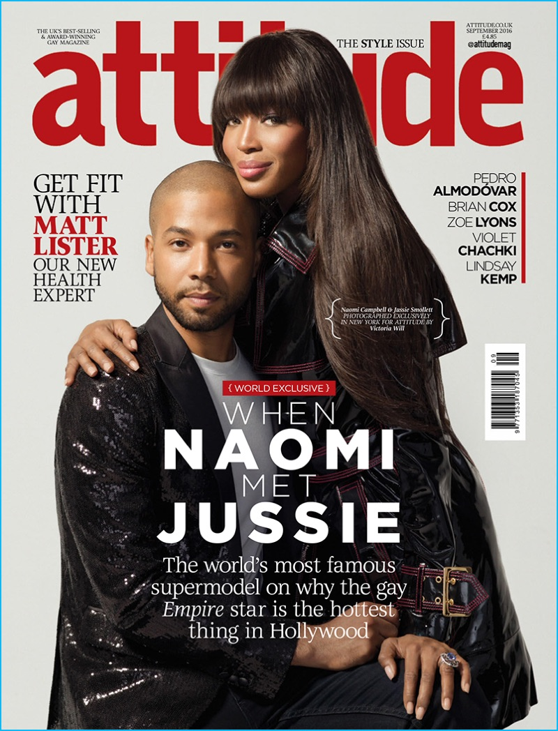32f2826f3a Jussie Smollett and Naomi Campbell cover the September 2016 issue of  Attitude magazine.