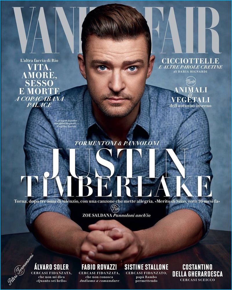Justin Timberlake covers the August 2016 issue of Vanity Fair Italia.